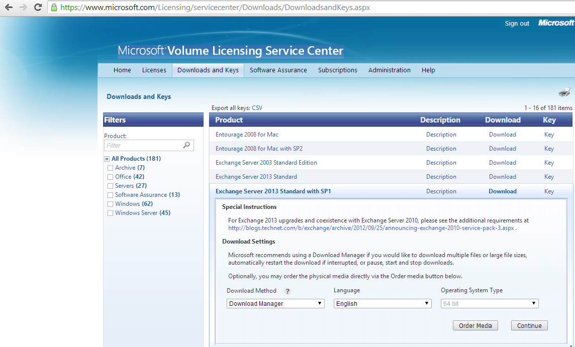 Microsoft Volume Licensing Service Center Exchange 2013